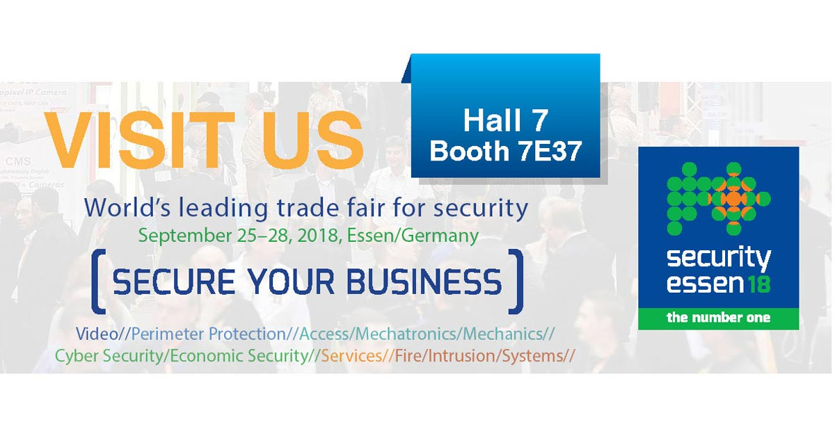 Visit us at Essen Security 2018 – The leading trade for fair security (1)